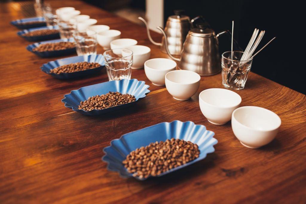 coffee tasting table